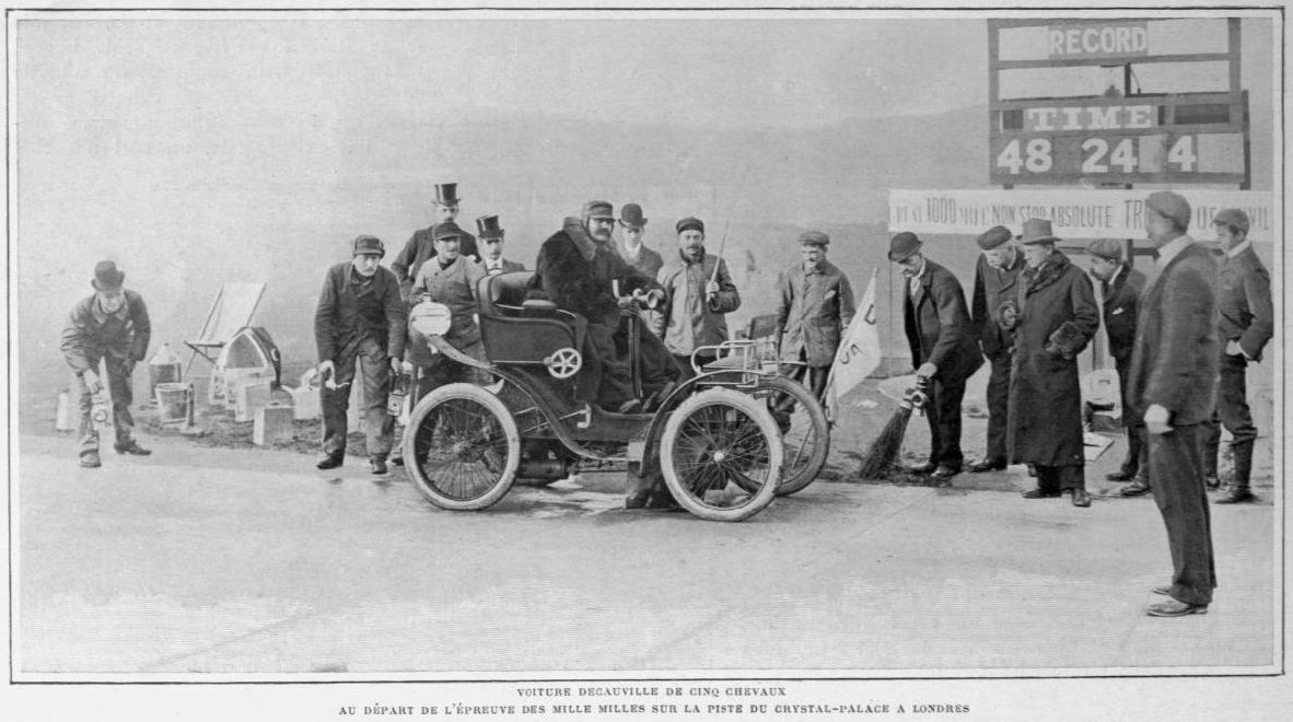 Une_Voiture_Decauville_5HP_au_départ_des_Mille_Milles_de_la_piste_de_Crystal_Palace_à_Londres_années_1900