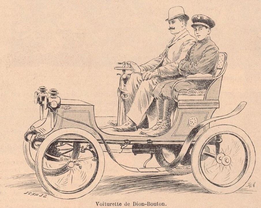 Le_comte_de_Dion_sur_lune_de_ses_voiturettes_juin_1899